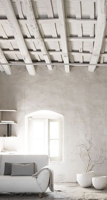 whitewashed beams, rustic plaster and contemporary elements... Too ...