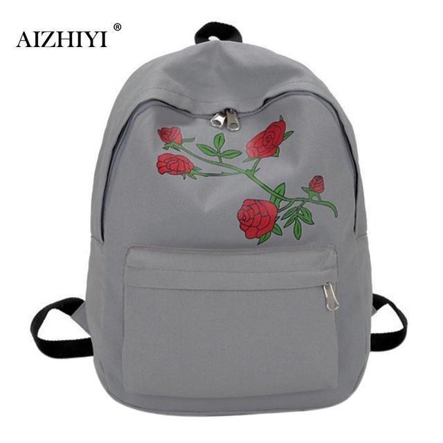 AIZHIYI Brand Women s Backpack Floral Rose Print Bag Large Capacity  Teenagers School Bag Knapsack Backpacks for Girls Women 4b4c5ef368336