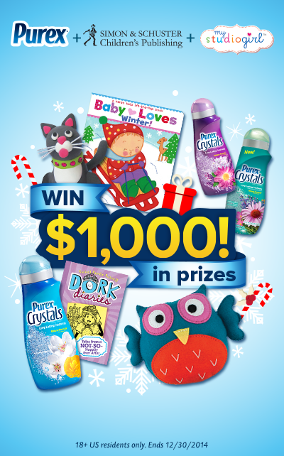 WIN $500 gift code from Simon & Schuster, $500 worth of My Studio Girl products, and Purex Crystals variety pack. Repin and enter above!