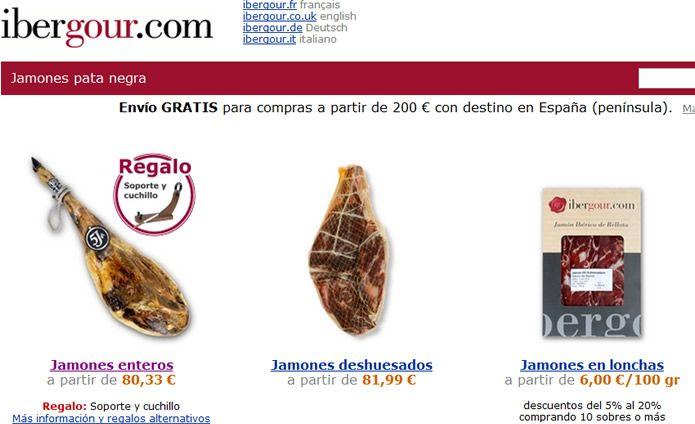Web De Ibergour Com Tienda Online De Jamones Ibericos Conocida