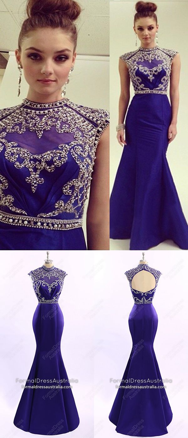 Royal blue formal dresses long mermaid prom dresses sparkly
