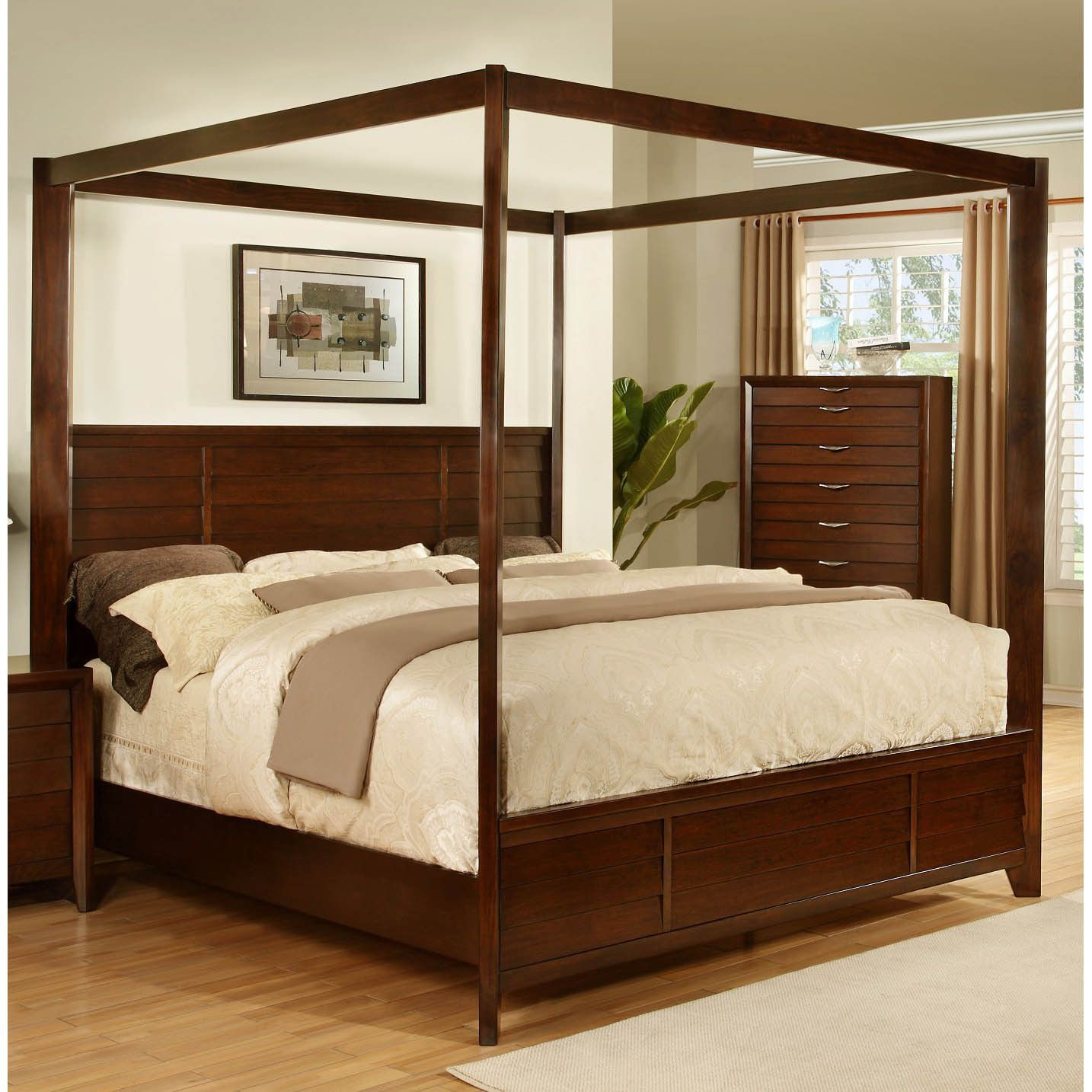lyke home lana post bed  accent pieces canopy and espresso - introducing the lana collection by lyke home a bedroom set that is sure tobecome