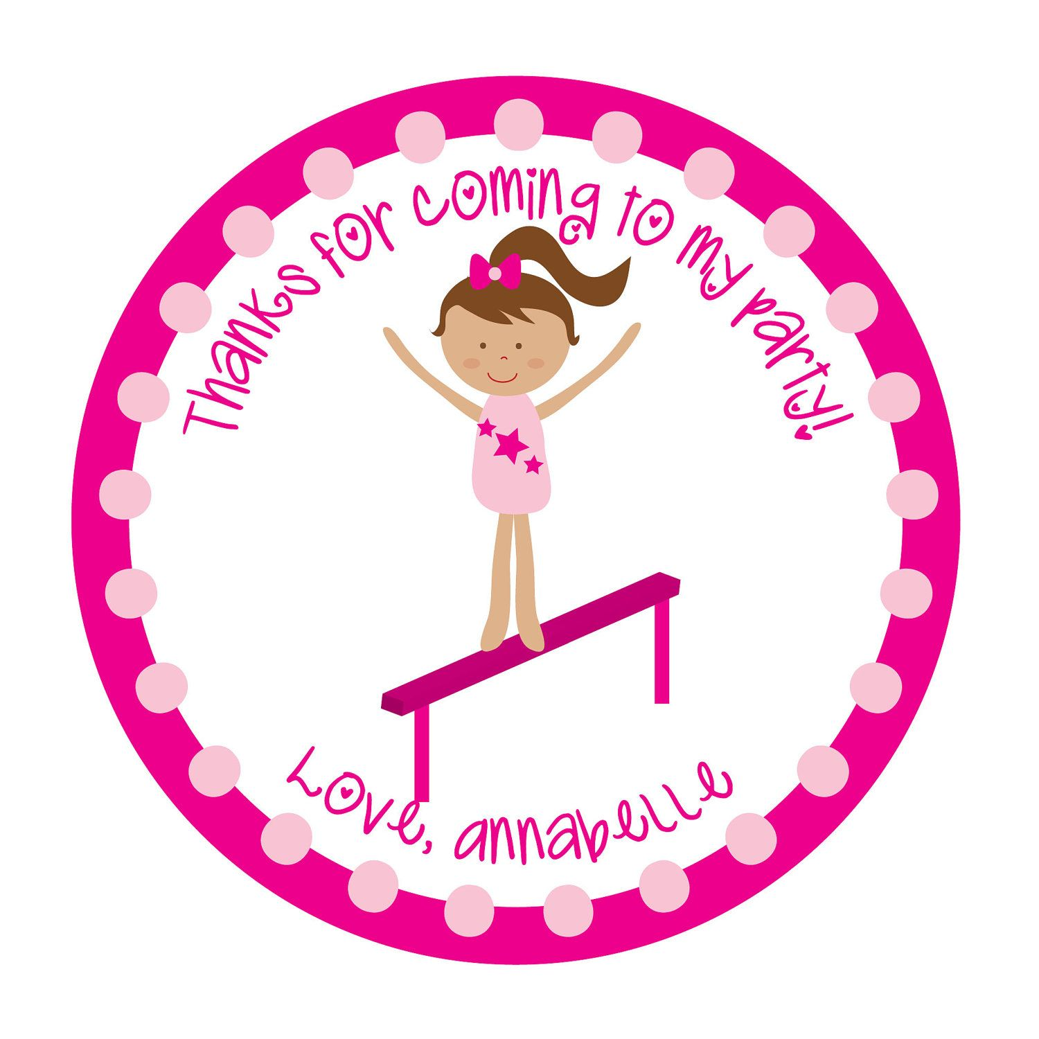 Personalized Stickers, Gymnastics, Tumbling party, Dance party ...