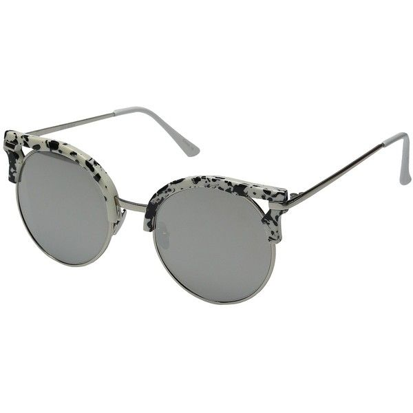 Steve Madden Rylie (Silver/Silver) Fashion Sunglasses ($38) ❤ liked ...