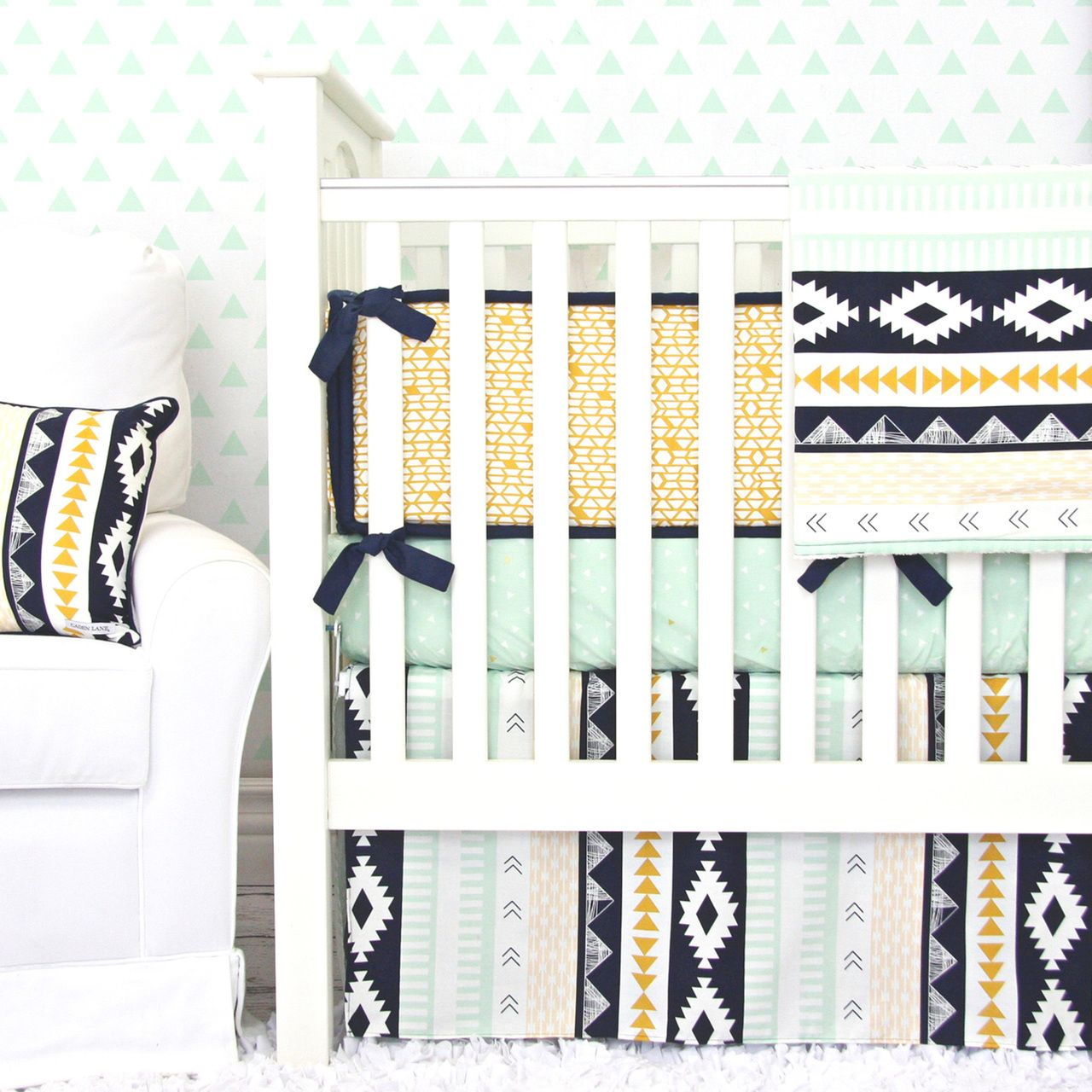 Caden Lane Baby Bedding Gold And Mint Aztec Baby Bedding