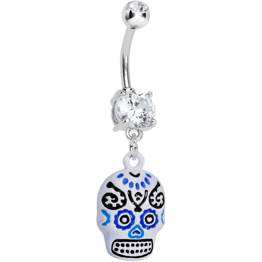 Fake belly piercing  Double Clear Gem Day of the Dead Dangle Belly Ring  Dangle belly