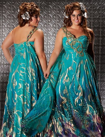 6980a27c16fb Fabulouss Teal Print Plus Size Prom Dress by MacDuggal 6323F | Not ...