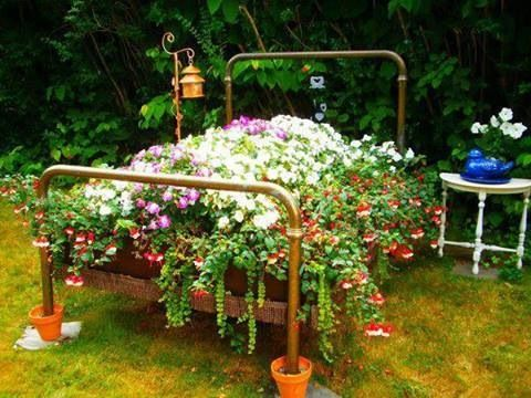 Old Metal Bed Frame And Box Springs As A Garden Base Freakin