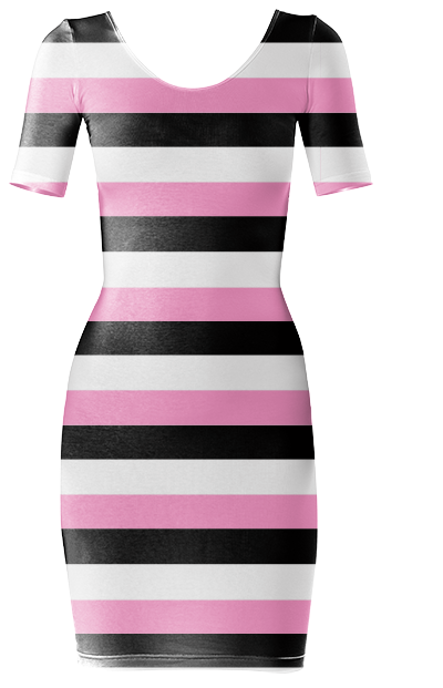 Trendy Black, pink and white striped Bodycon dress by Khoncepts