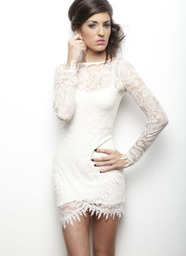 Long Sleeve Cream Dress with Lace Overlay - $175 | Bottom, Sleeve ...
