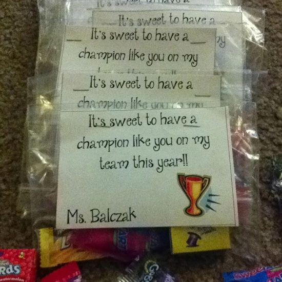Little treats for my students at open house. I have a sports theme this year so I thought this idea worked well.