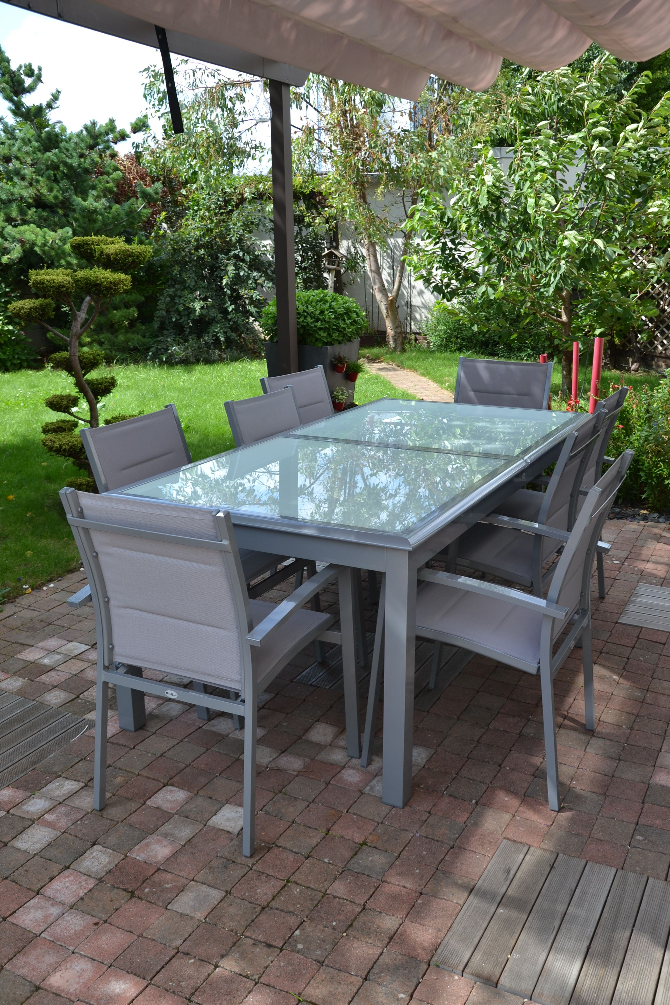 Baltimore : table de jardin extensible 200/300cm en aluminium et 8 ...