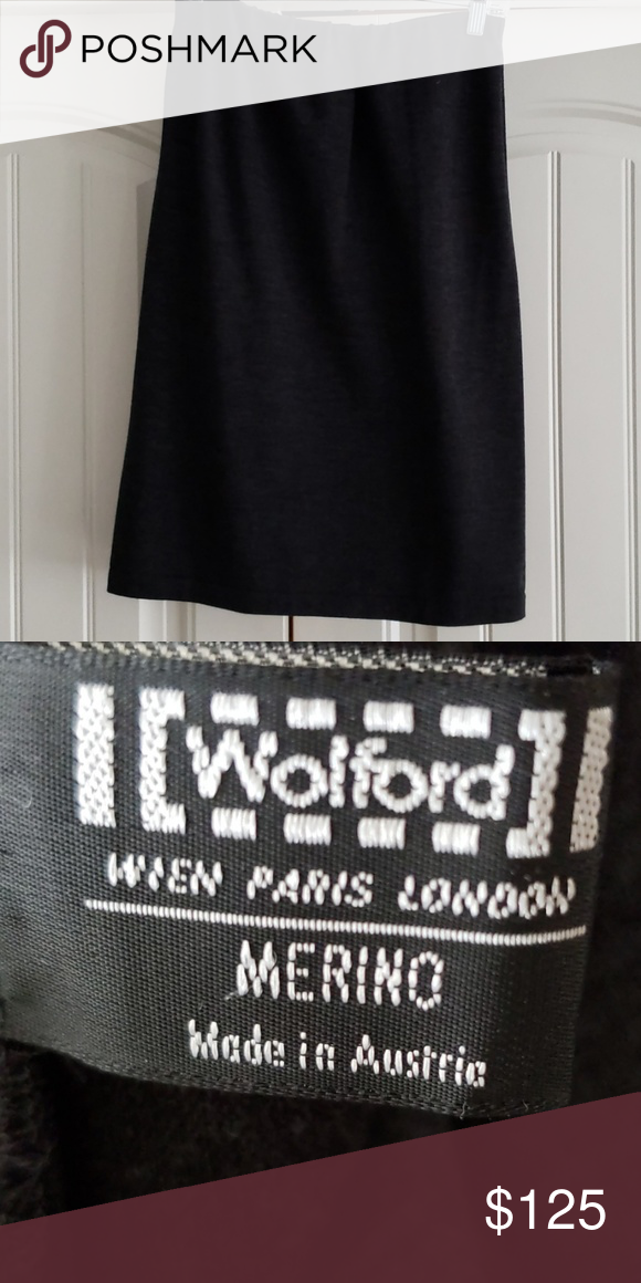 Wolford Charcoal Gray Stretch Merino Wool Skirt