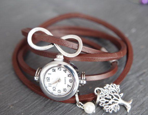 Envelopper Montre Montre Wrist Watch Bracelet Watch Infini Bracelet Karma Montre Bracelet Portefeuille Cuir