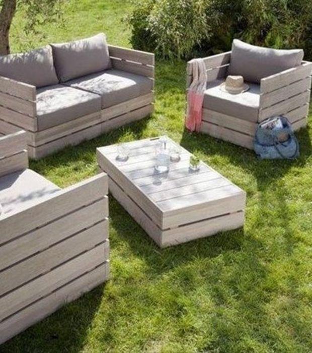 photo salon de jardin en palettes en bois