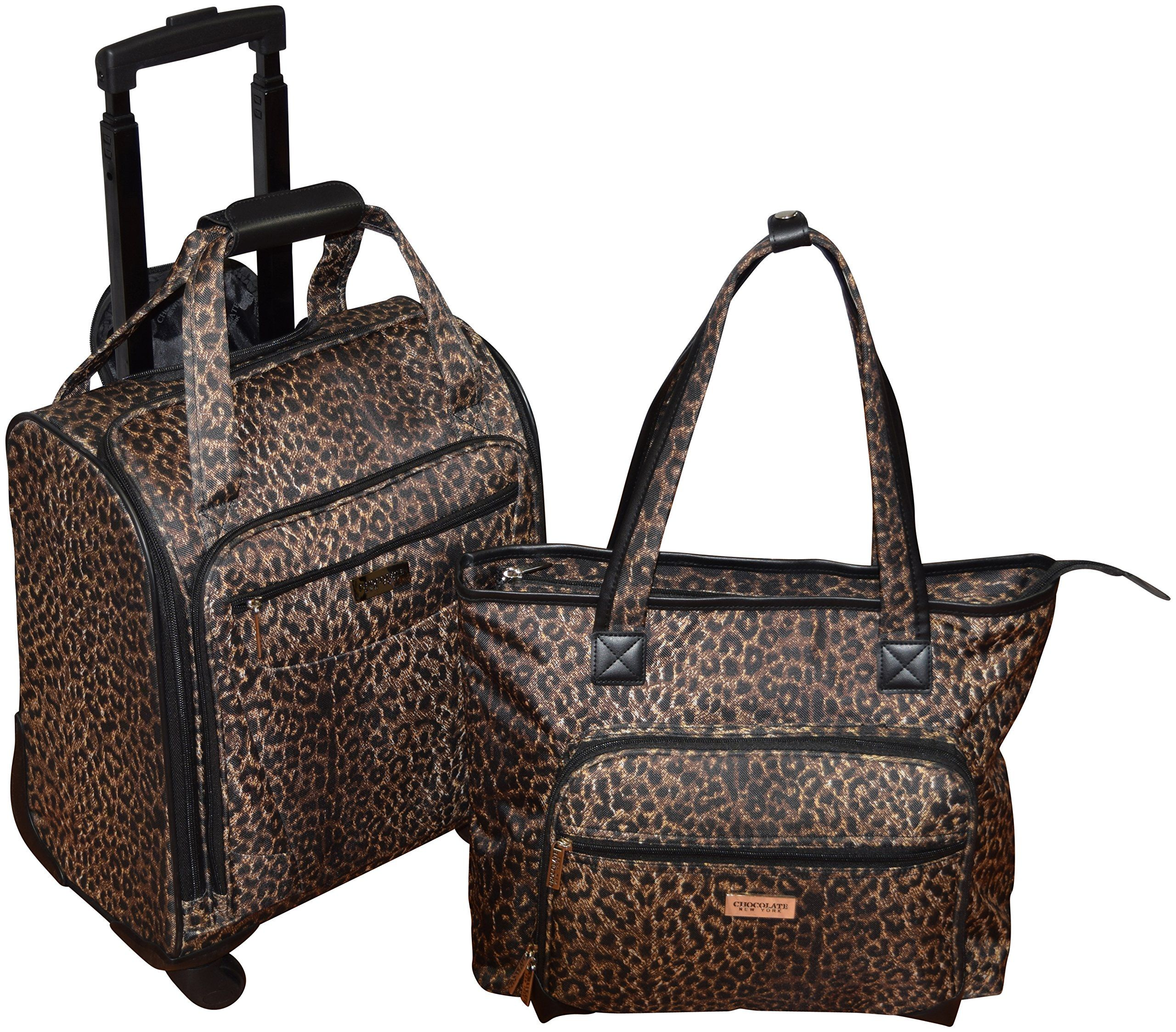 New York Chocolate Wheeled Rolling Underseater Carry On Luggage And Laptop Tote Bag
