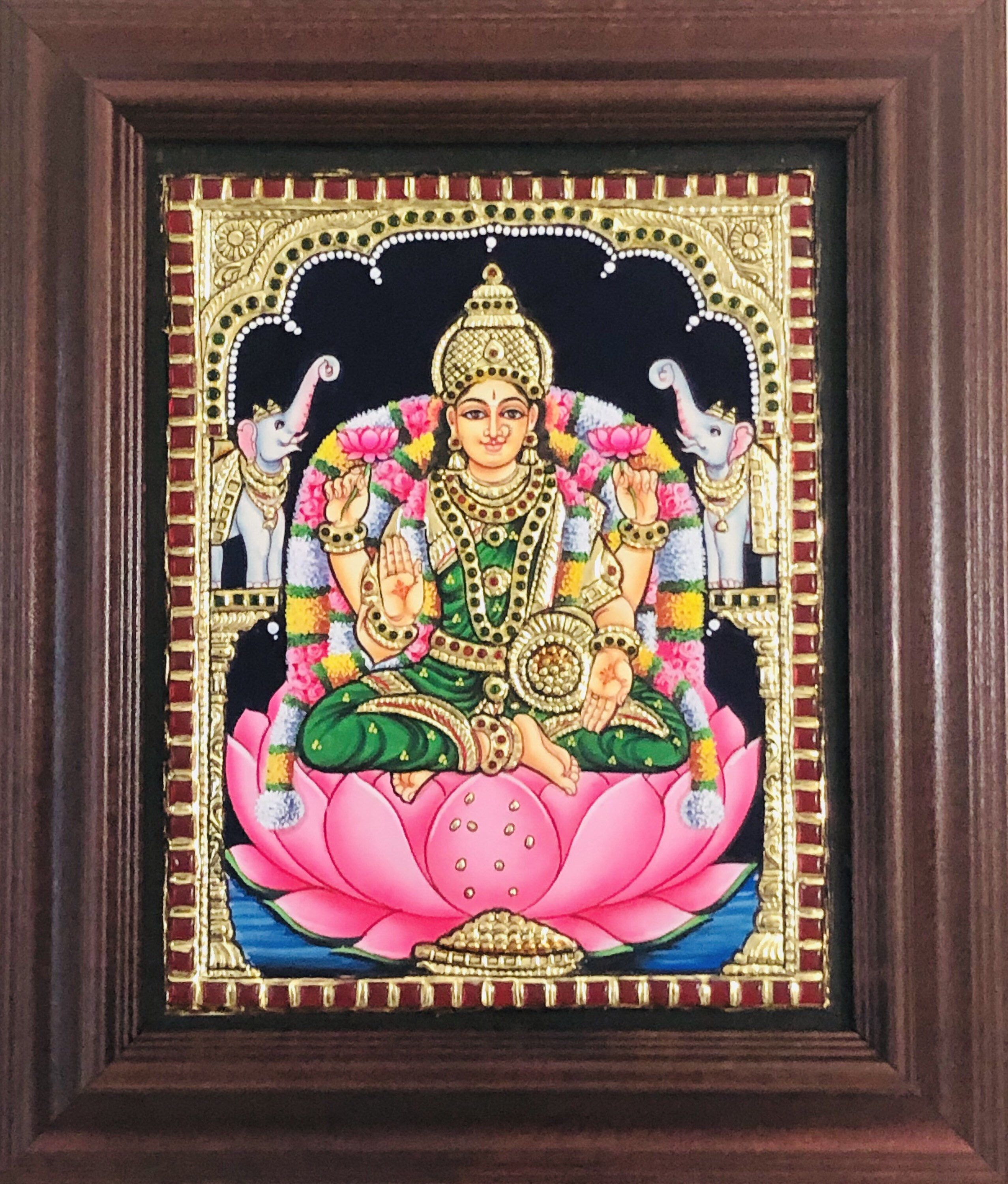 """Excited to share this item from my #etsy shop: Beautiful Lotus Lakshmi Devi gift Tanjore painting 11x13"""" with hardwood frame FREE Shipping from USA #anniversary #tanjoregift #homedecorpainting #divineindianart #housewarmingreturn #indiangift"""
