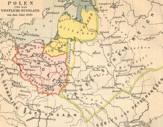 1890 Original Antique Historical Map Of Poland And The Western Part