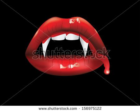 Red Lips White Fangs With Blood On Black Background Vampire Teeth