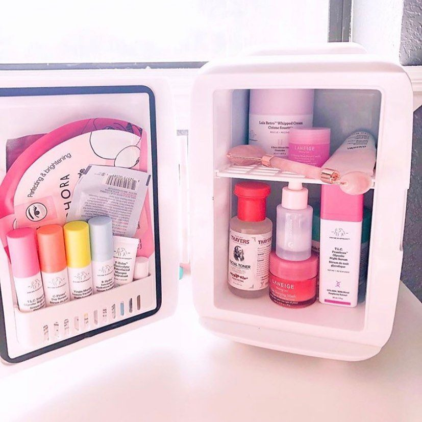Beauty Fridge Goals Mini Fridge Make Up Organiser Bedroom Design Inspiration