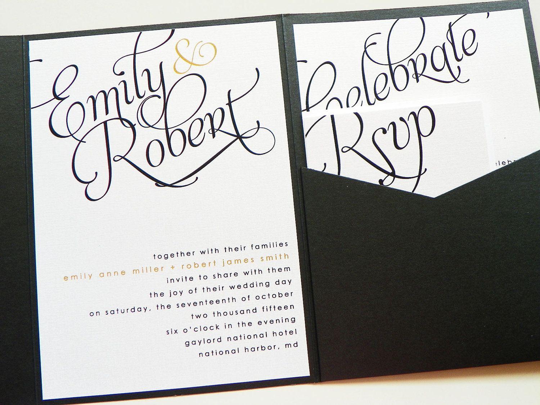 Pocketfold Wedding Invitations - Scripted Pearl Shimmer Signature ...