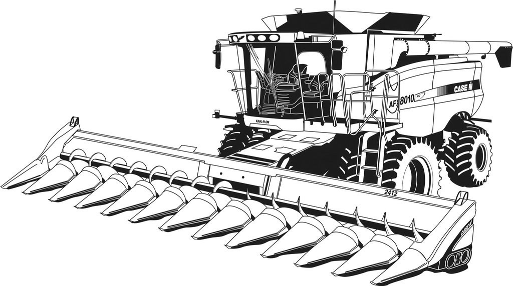 Combine Harvester Tractor Coloring Pages Free Coloring Pages