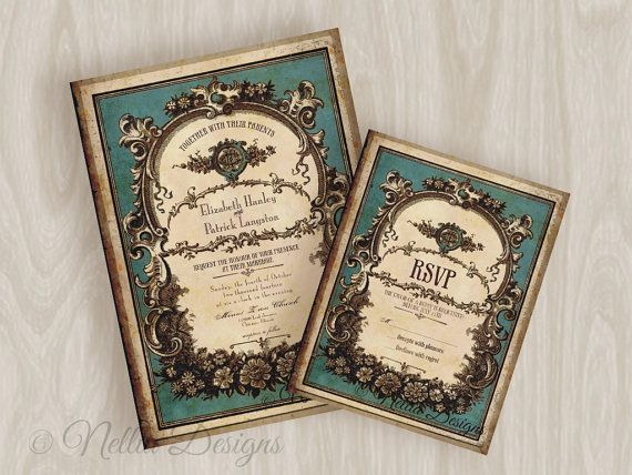 Vintage Perfume Label Wedding Invitations with RSVP and envelopes  From: Nellia Designs - custom wedding stationery and invites