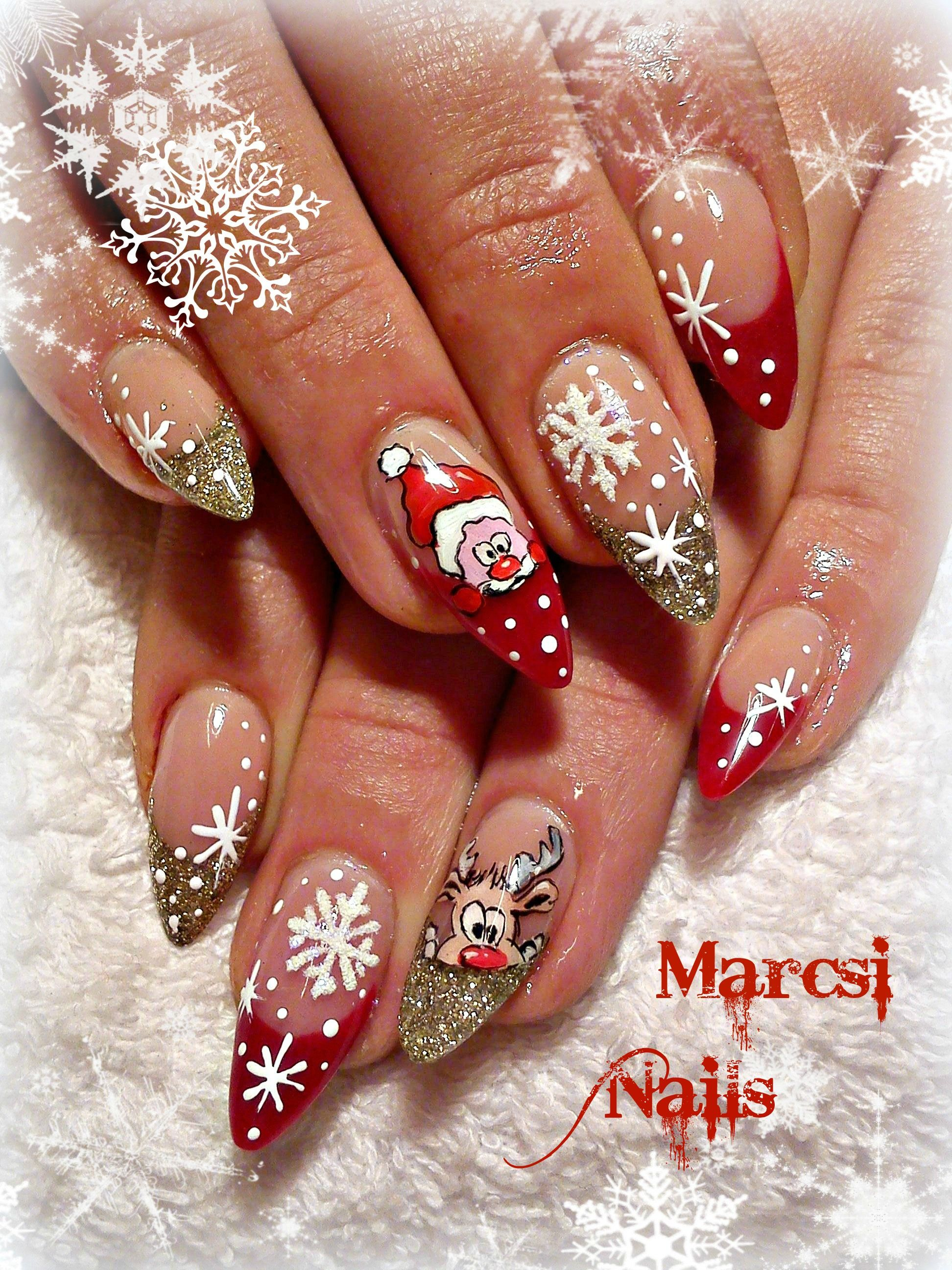 Xmas Nail Rudolf Santa Claus Nail Fantasie Per Unghie Natalizie Unghie Gel Unghie Graziose