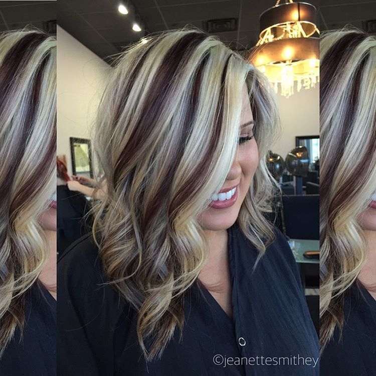 Dark Brown And Blonde Highlight And Lowlights Hair Color Highlights Hair Styles Hair
