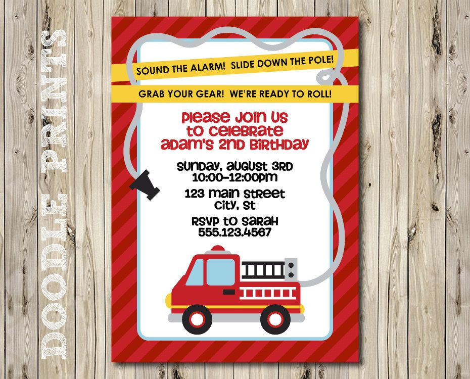 Fire Truck Invitation Birthday Party Invitation Fire Fighter – Fire Truck Party Invitations