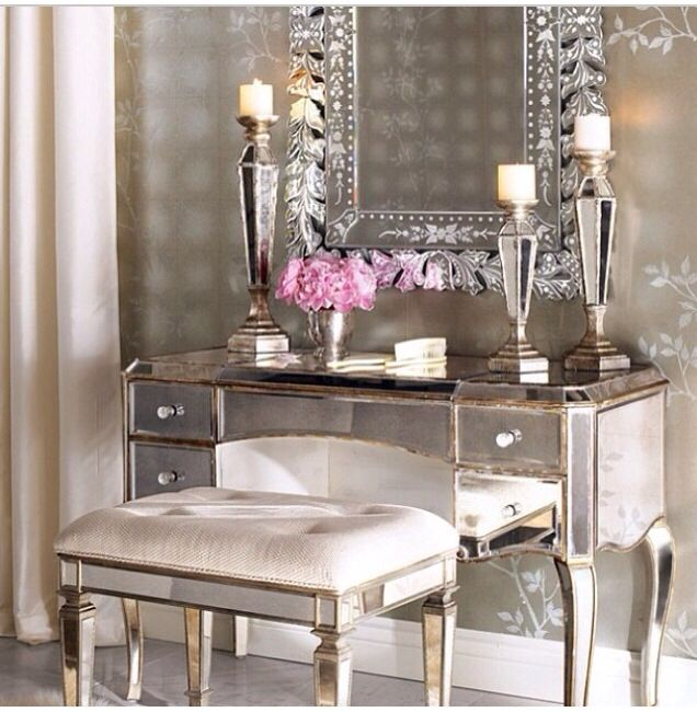 My Dressing Table Area, Love Wallpaper, Love Stool, And I Already Have The  Mirrored Desk.Mirrored Vanity U0026 Vanity Seat Traditional Bathroom Vanities  And ...