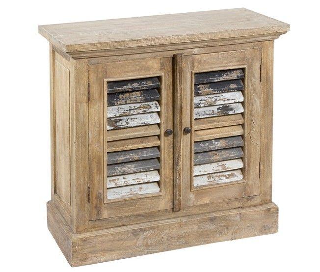 mueble auxiliar vintage en madera natural con puertas de persiana decapadas idea para recibidor