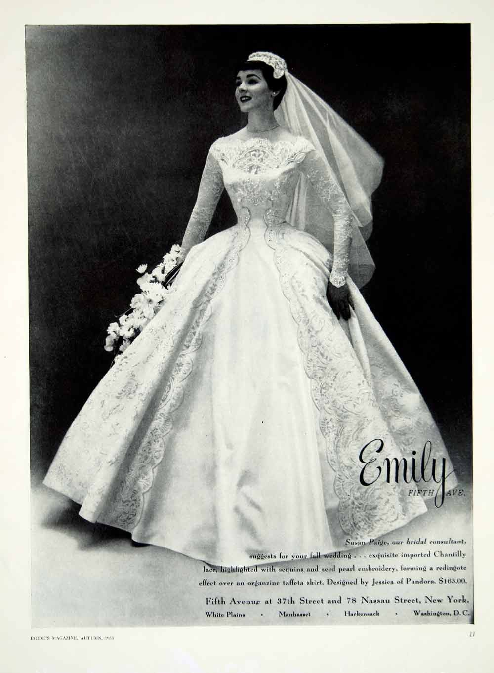 1956 Ad Vintage Taffeta Wedding Dress Jessica Pandora Chantilly Lace ...