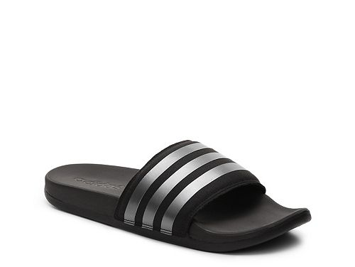 sandals slide slide black silver adidas supercloud plus