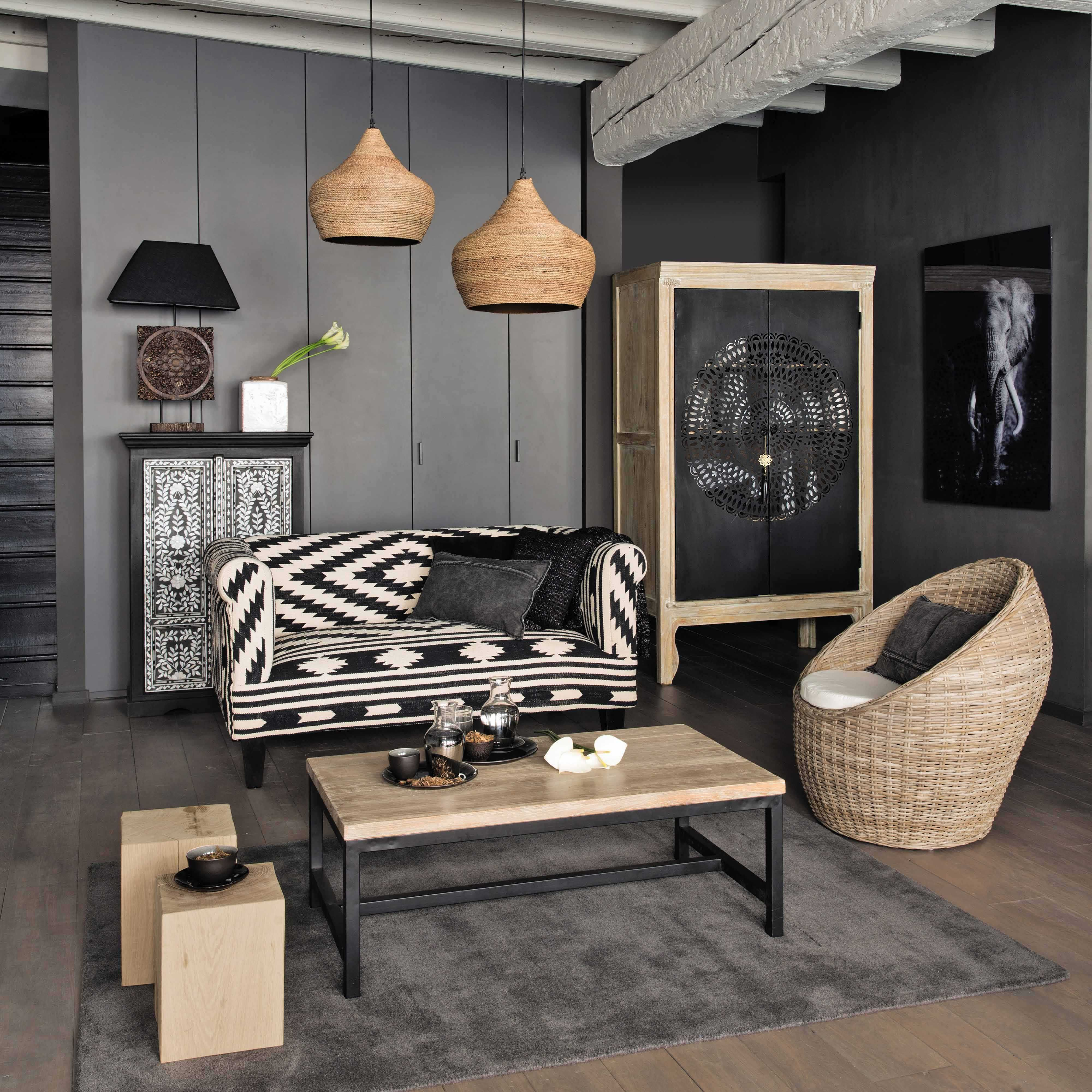 armoire en manguier massif gris e l 104 cm menara grey walls grey and armoires. Black Bedroom Furniture Sets. Home Design Ideas