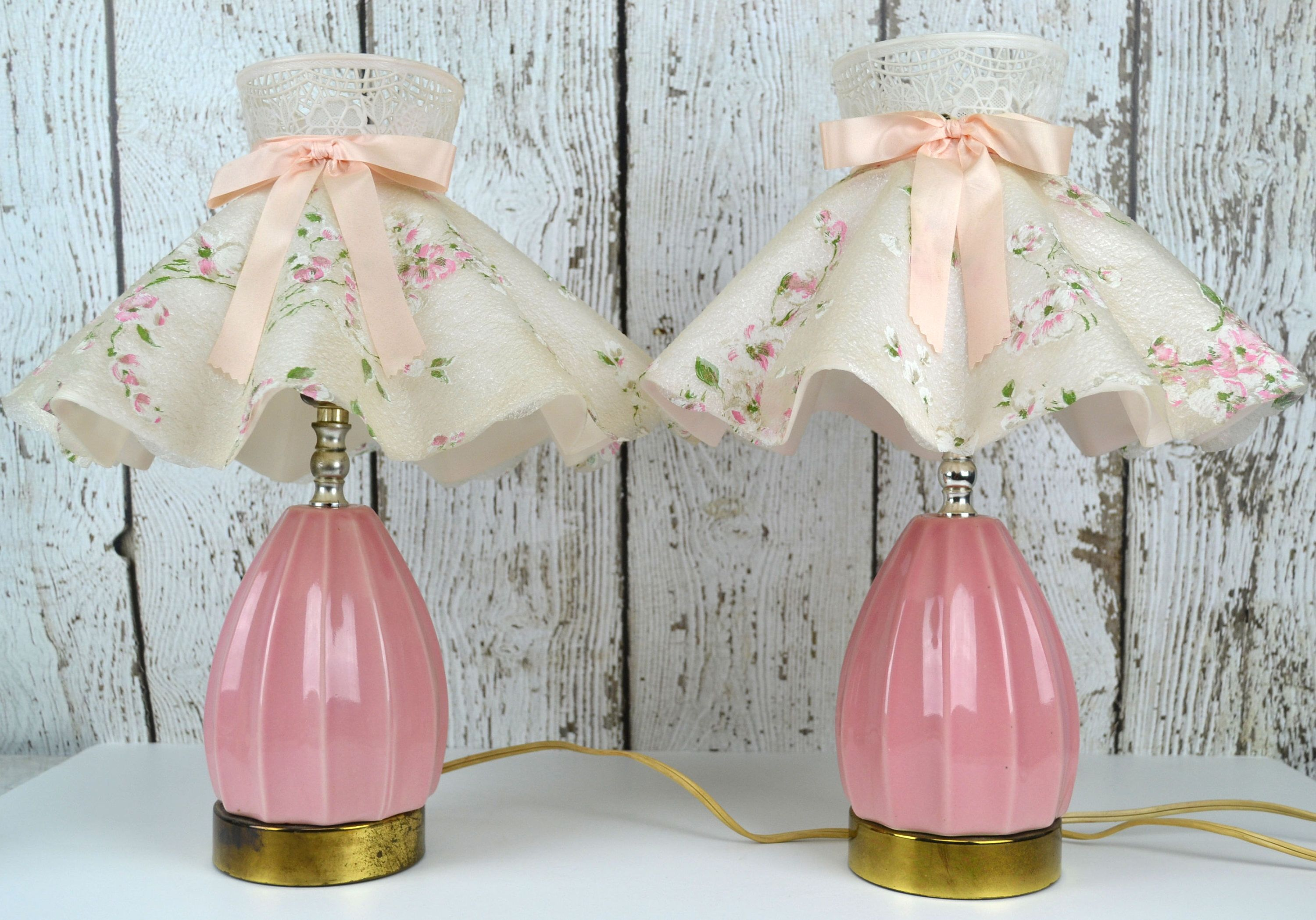 Vintage pink ceramic bedroom lamps pair with plastic clip on vintage pink ceramic bedroom lamps pair with plastic clip on ruffled lamp shades matching table lamps floral lamp shade bedroom lighting mozeypictures Gallery