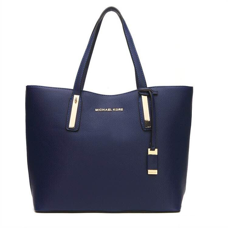 f0f0689f4aeb New Arrival Michael Kors Jaryn Large Leather Shoulder Tote Navy Blue ...