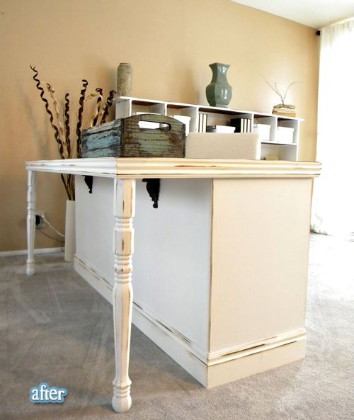 """could be solution for the chopping block - dresser into desk/table.  could be great for kitchen island with seating as well.   could put at the end of the counter where the silverware drawer is and put the """"bar"""" seat backs towards the bay window.  Solving the seating in the kitchen and the extra storage needed at the same time?"""