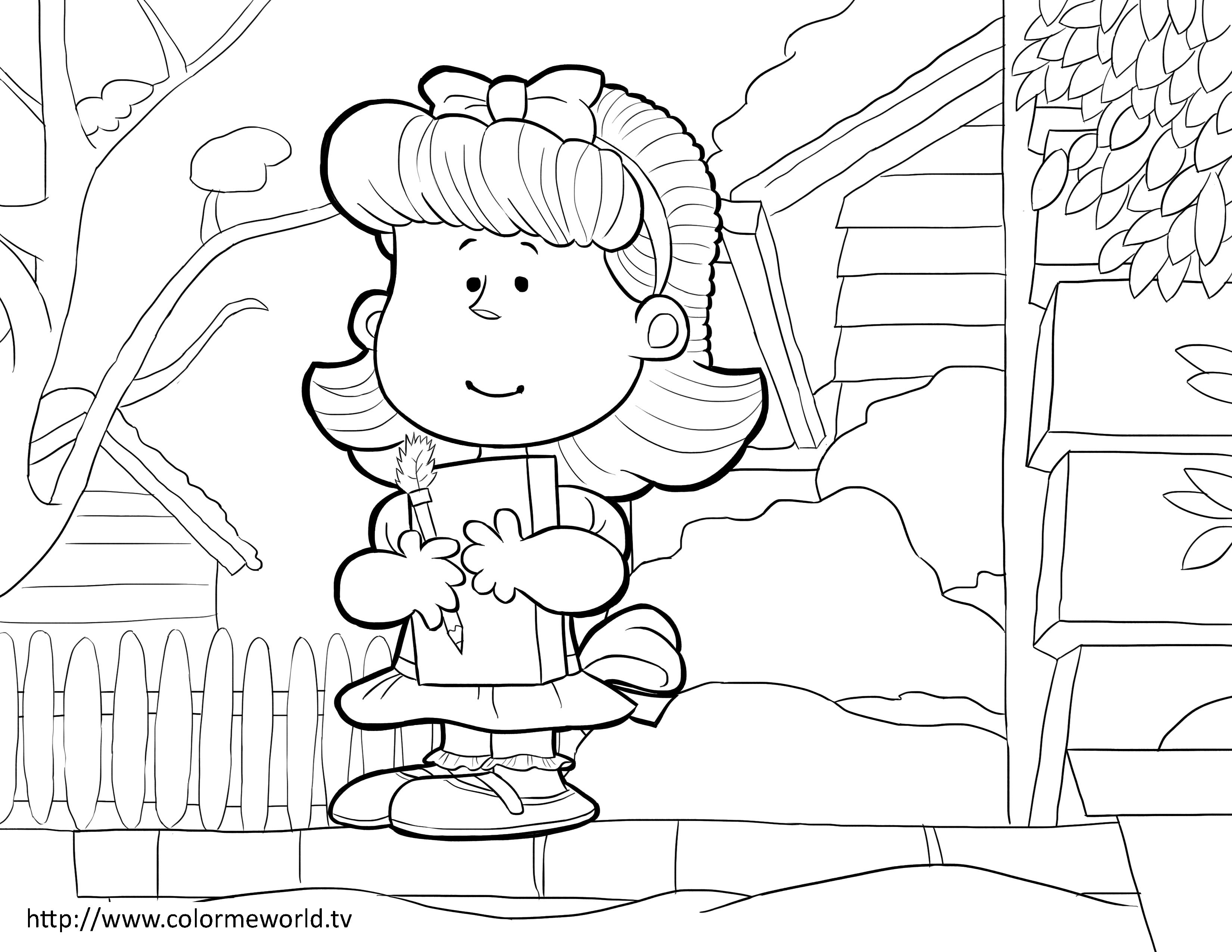 Little Red Haired Girl Pdf Printable Coloring Page Peanuts