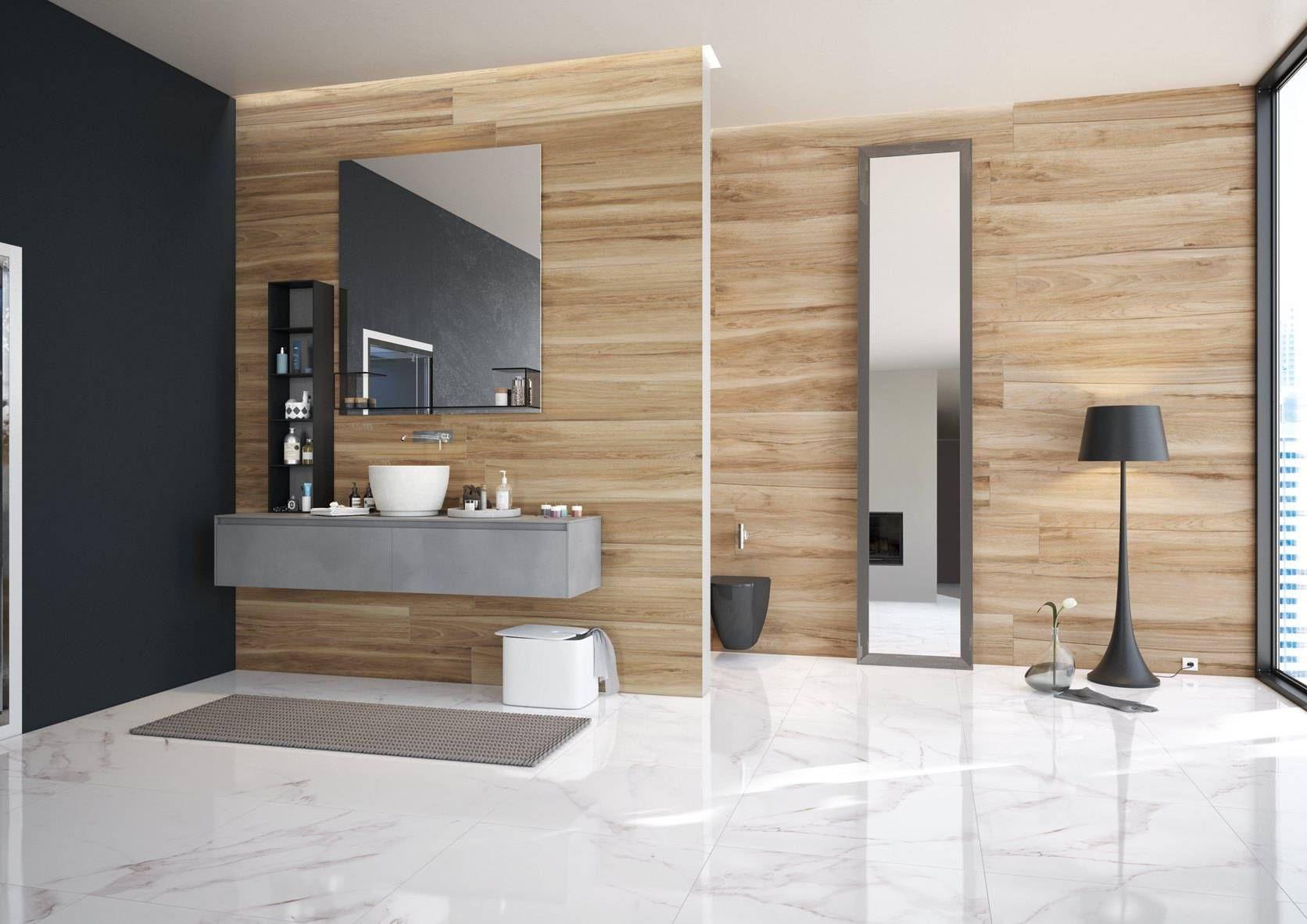 Gres effetto legno e gres effetto marmo marmo un connubio senza tempo che si fonde in questo - Bagno effetto marmo ...