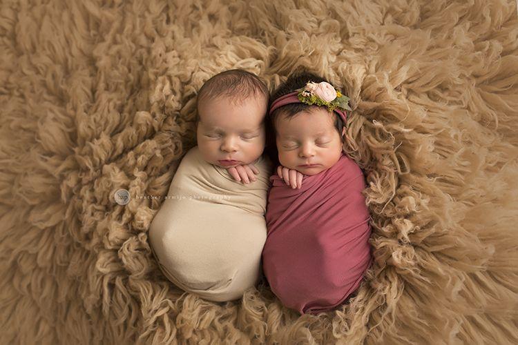 Beautiful boy girl twin newborn session www heatherarmijophotography com