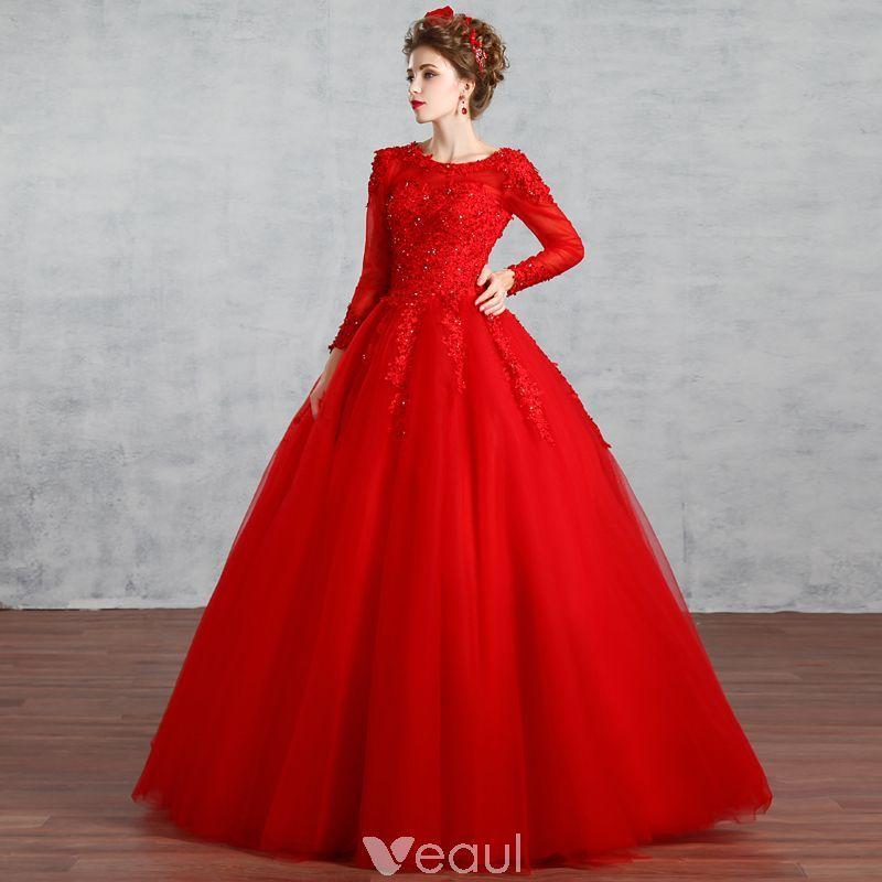 3482ab6578 Piękne Muzułmańska Czerwone Suknie Ślubne 2019 Suknia Balowa Wycięciem Z  Koronki Kwiat Rhinestone Cekiny Długie Rękawy Bez Pleców Długie