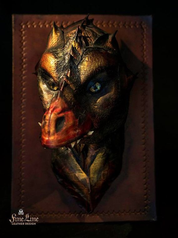 Sculpted Leather Mounted Dragon Head by Finelineworkshop on Etsy