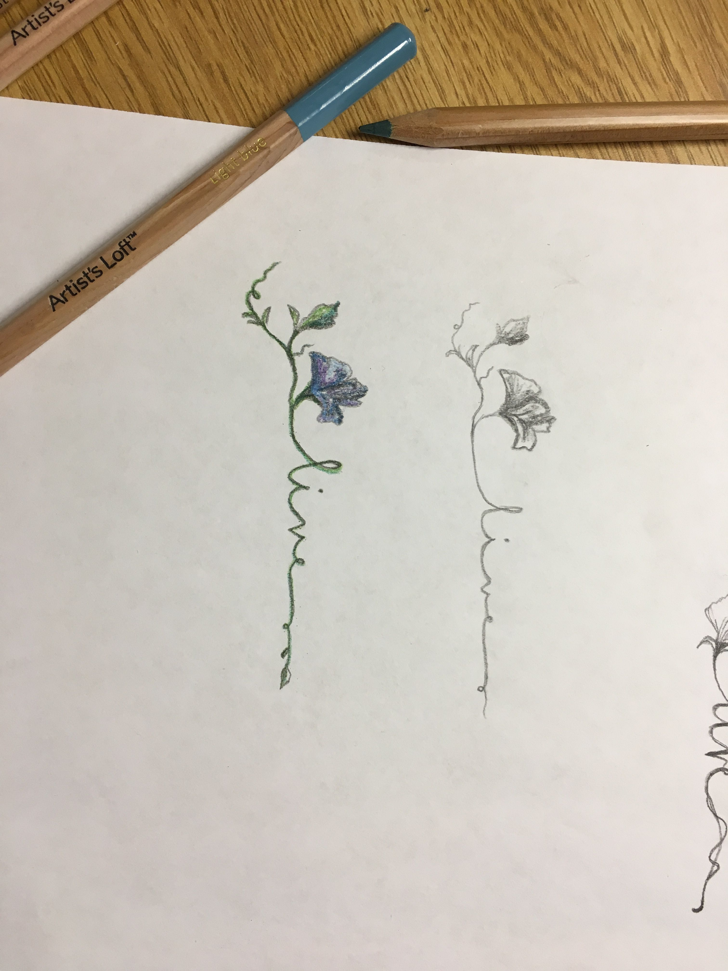 Watercolor For The Flower Make The Green Smaller Leaf Into A Small Flower Bud Wording For Liv Name Flower Tattoo Delicate Flower Tattoo Small Flower Tattoos
