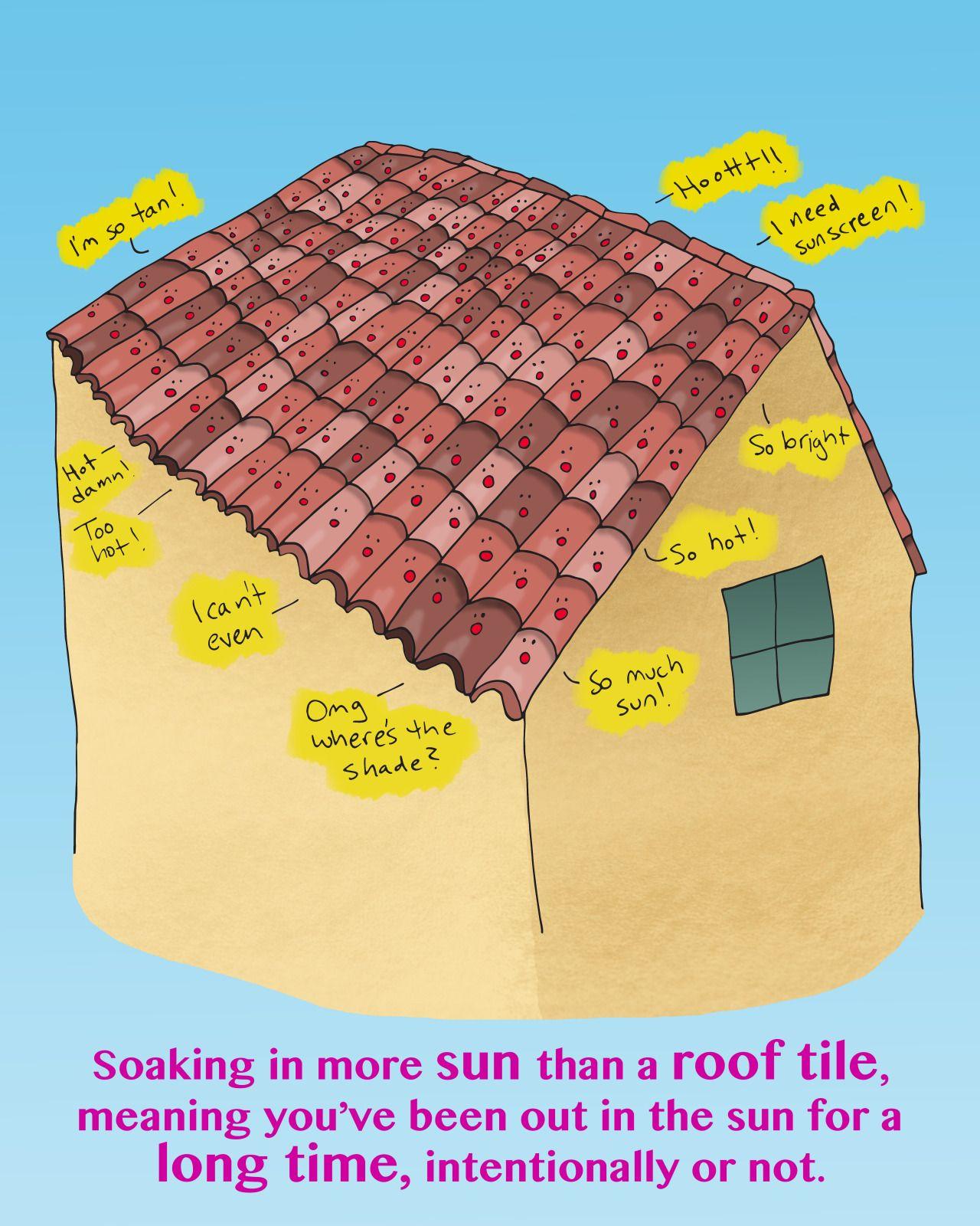 agarrando más sol que una teja translation soaking in more sun than