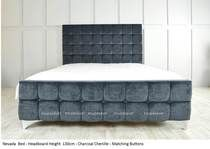 Nevada Bed Frame. Available in Chenille, Linen, or Faux Suede Fabrics