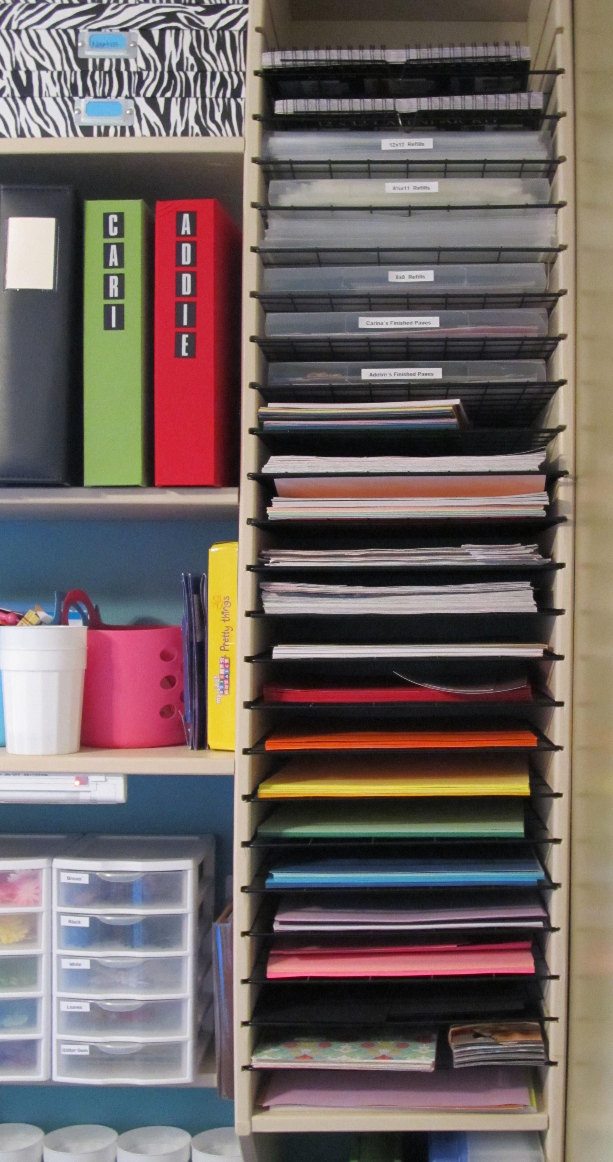 How to store scrapbook paper - Scrapbook Paper Holder With Wire Shelves From The 9 Cube Grid At Target Scrapbook Organizationstorage