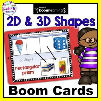 BOOM CARDS MATH 2D & 3D SHAPES Digital Task Cards #mathintherealworld