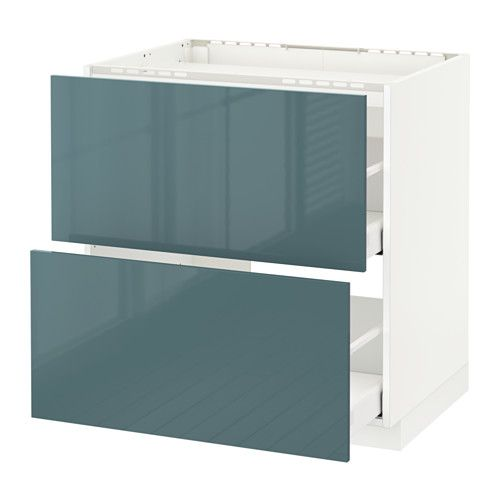 Best Metod Base Cab F Hob 2 Fronts 2 Drawers White Kallarp Grey 400 x 300