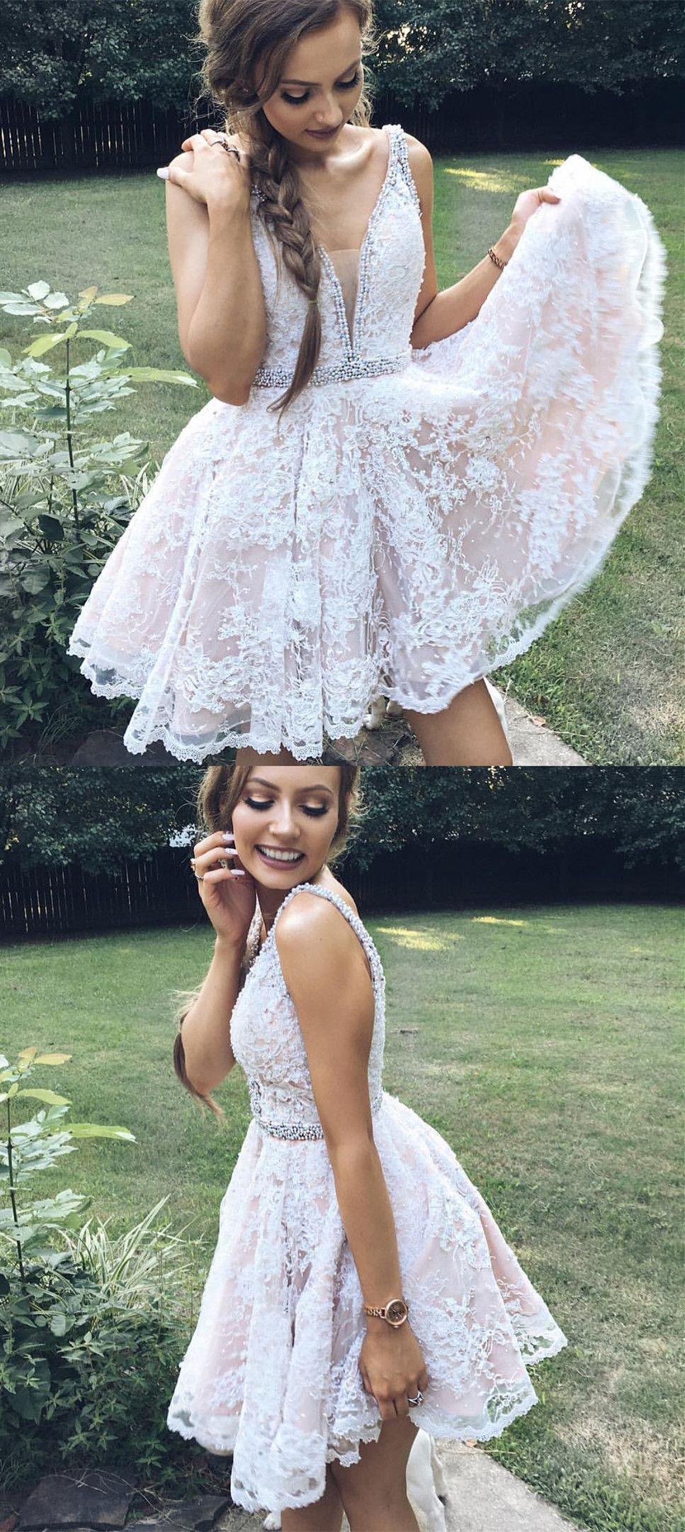 Cute aline white lace short prom dress homecoming dress from